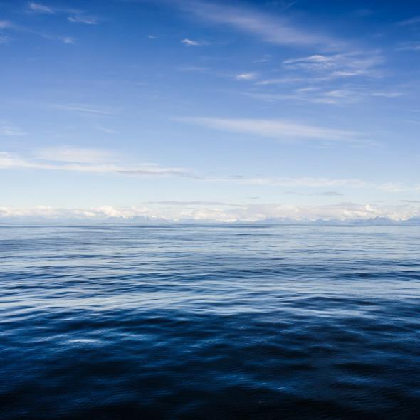 Sea. Notice the faint ridges far away